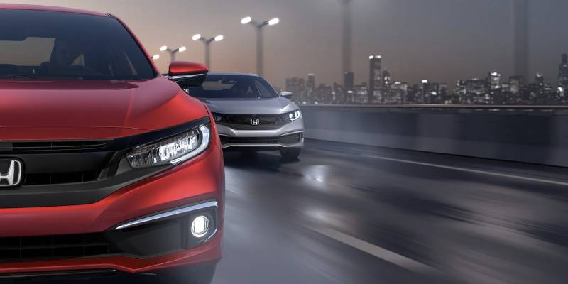 2020 Honda Civic Coupe Red and Silver